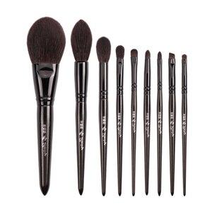 Image 1 - My Destiny 9Pcs Makeup Brushes Set Natural Black Wood Goat Hair Powder Highlighter Eyeshadow Make up Brush