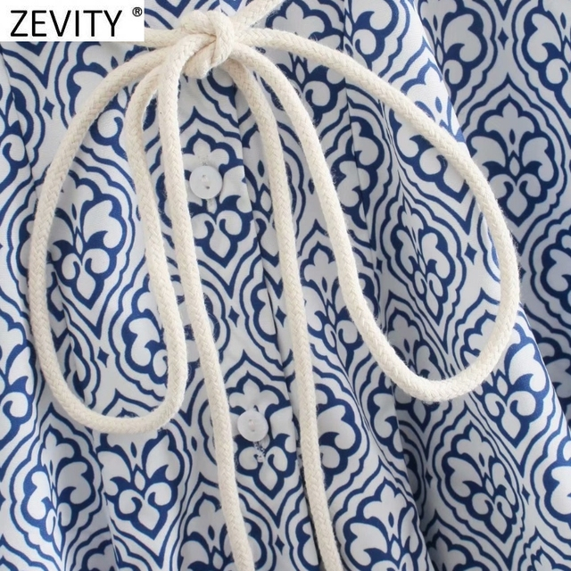 Zevity Women Vintage Totem Floral Print Big Swing Ruffles Mini Shirt Dress Female Chic Breasted Lace Up Sashes Vestidos DS8133 4