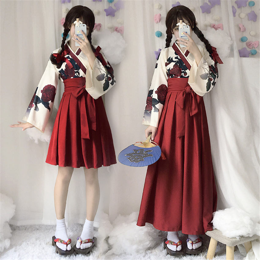 Girls Japanese Style Retro Kimono Floral Long Sleeve Woman Party Dress Summer Fashion Outfits Top Bow Skirt Haori for Female(China)