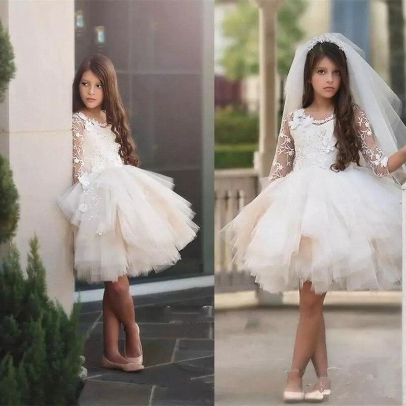 Детские Короткие Платья с цветочным узором для девочек на свадьбу, длина до колена, украшенные жемчужинами, с кружевной аппликацией, пышные ...