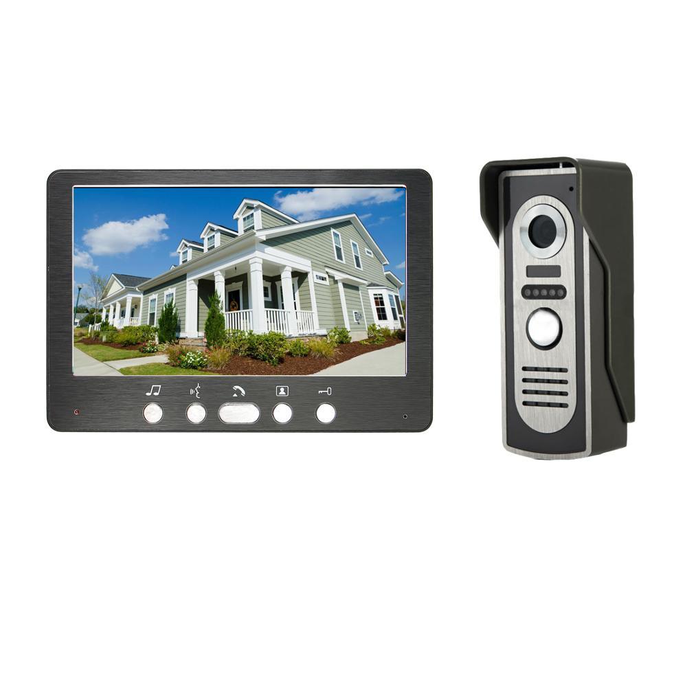 7 Inch Wired Video Door Phone Intercom With Camer Kit Rainproof IR Night Vision Intercom Bell