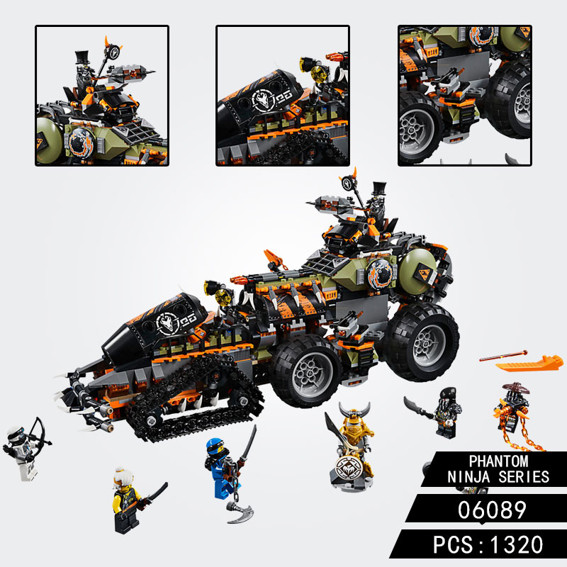 Compatible GSBAN Ninjagoed 70654 Playset Battle Tank Figures Hunted Car Dieselnaut 06089 Building Blocks Set Toys For Children