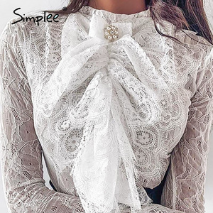 Image 3 - Simplee Streetwear bow tie women lace blouse shirt Stand neck ruffles pearl female white tops Spring summer ladies blouses 2020
