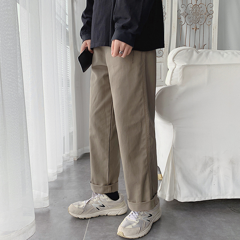 Autumn And Winter Pants Men Korean-style Trend Straight-Cut Bib Overall Athletic Pants 2019 New Style Popular Brand Large Size C