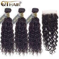 QT малазийские водная волна 3 пучка с фронтальной натуральные кудрявые пучки волос с фронтальной 3 пучка с закрытием Remy волосы для наращивани...