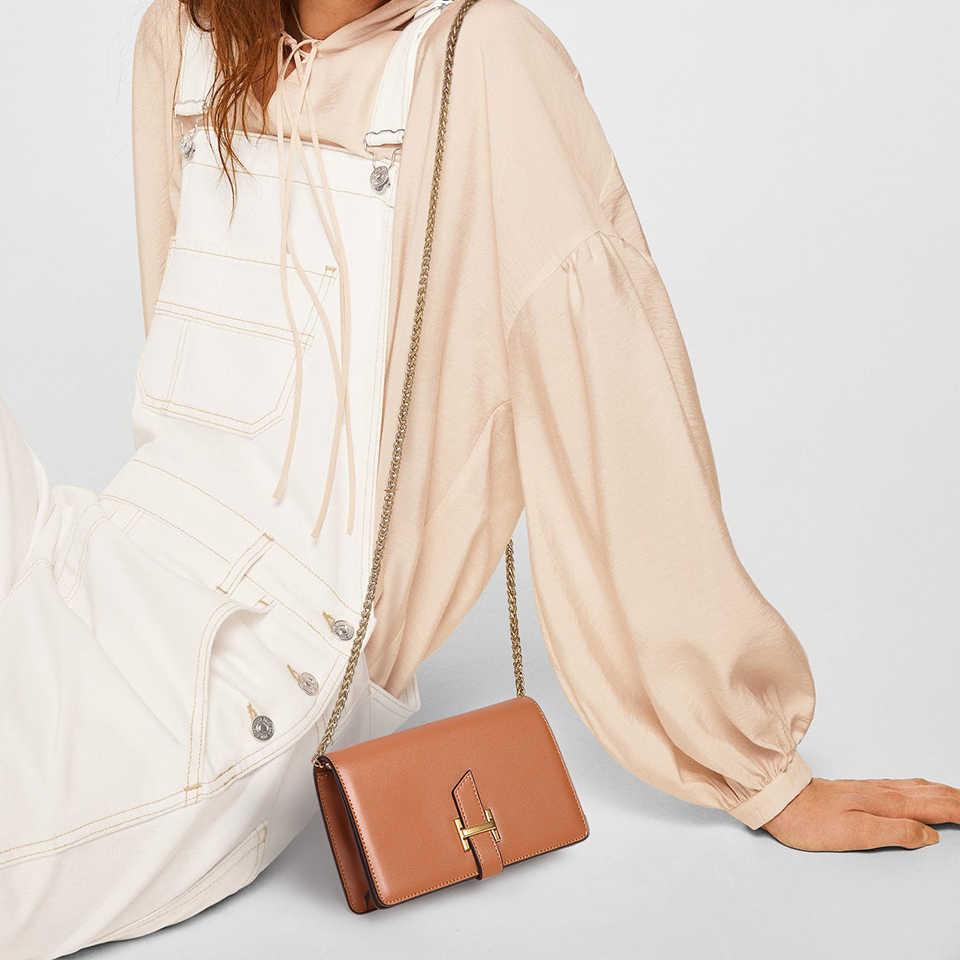Tidak Pernah Berhenti Wanita Kulit Tas Musim Panas Mini Messenger Bag Fashion Flap Tas Kecil Rantai Bahu Sac Cross-Body Hitam /Putih/Coklat