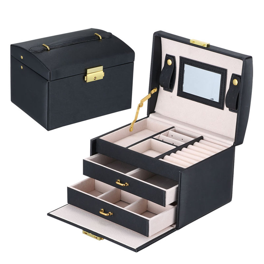 Large PU Leather 3 Layers Travel Jewellery Box Case Display Storage Earring Ring Necklace With Mirror Watch Jewelry Organiser