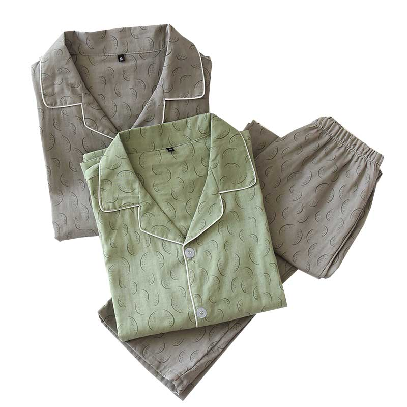 Men's Pajamas Set Turn-down Collar Simple Style Loose Thin Sleepwear Lgrge Size Gauze Cotton Home-wear Spring New  Casual Wear