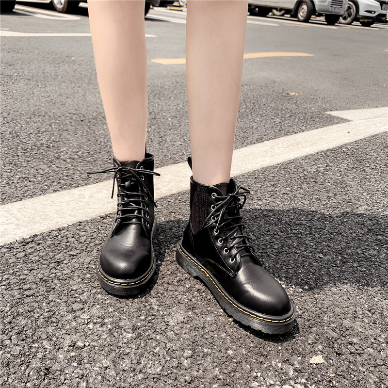 Autumn 2019 Knitting Sewing Design Lace Up Black Boots Low Heel Gothic Women's Shoes Punk Ankle Biker Combat Boots Woman