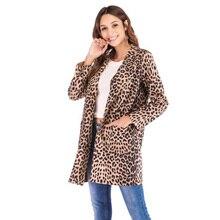 Long Coat Woman Trench Casual Vintage Slim Deerskin Leopard Print Autumn Streetwear Outwear Korean Fashion Clothing