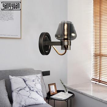 Nordic Glass Led Wall Lamp Hotel Room Bedside Lamp Bedroom Lamp Modern Wall Sconce Light Home Villa Decor Black retro Lighting