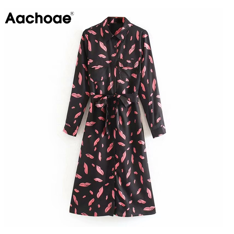Aachoae Print Shirt Dress Women Turn Down Collar Pockets A Line Midi Dress Female Casual Long Sleeve Sashes Loose Dress Lady