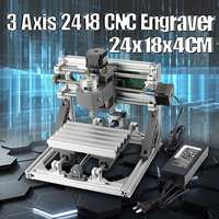 3Axis 2418 Mini DIY Laser Engraving Machine 24V CNC Wood Router Milling Machine USB Wood PCB PVC Carving Laser Engraver Printer