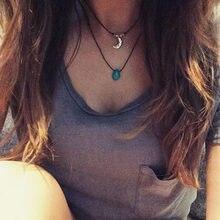 1 pçs turquesa colar turquesa gota gargantilha turquesa boho camadas colar festival hippie tumblr colar