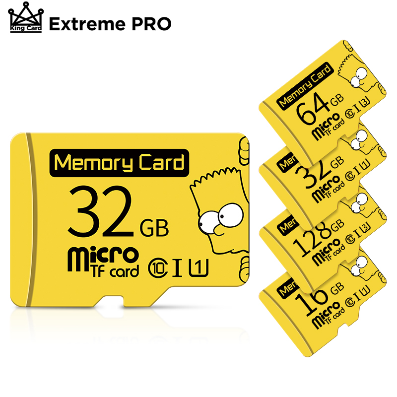الأصلي بارت سيمبسون مايكرو بطاقات الذاكرة 64GB 128GB microSDXC الدرجة 10 مايكرو SD بطاقة 32GB 16GB SDHC مايكرو UHS-I TF بطاقة