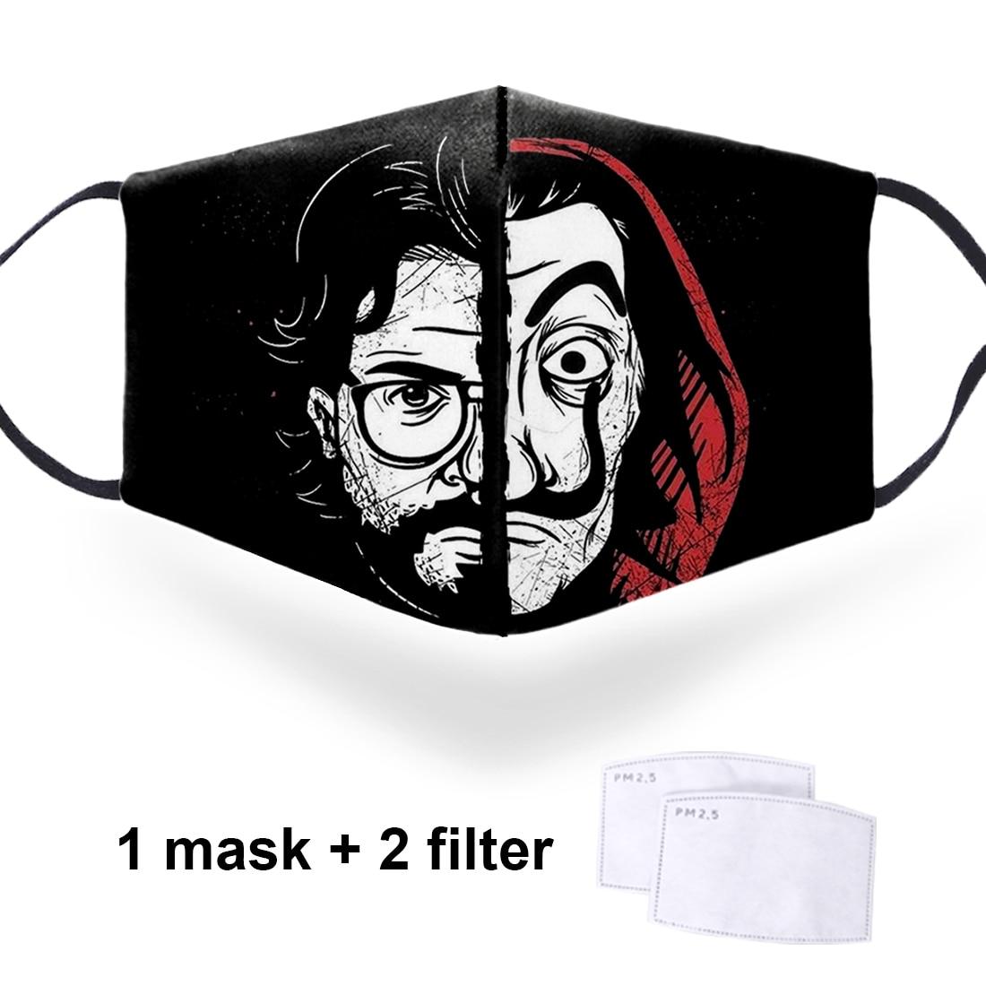 House Of Paper Money Heist La Casa De Papel Vintage Printing 3D Masks Soft Face Mouth Masks Dustproof Reusable PM2.5 Filter Mask