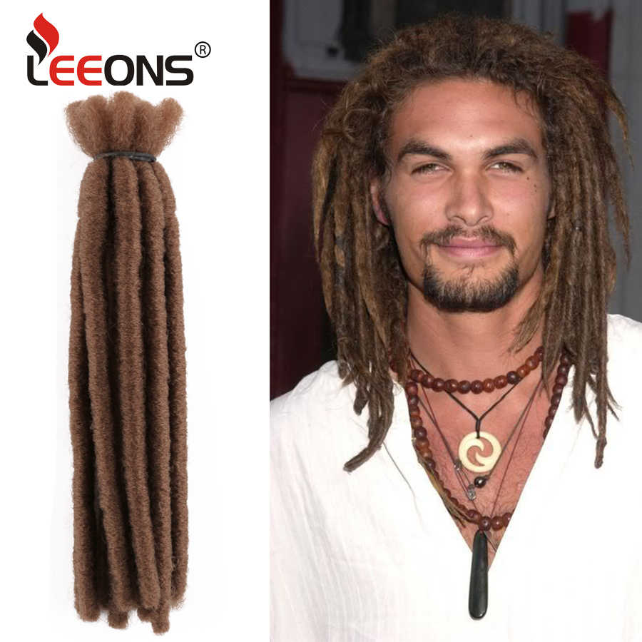 Leeons Afro Dreadlocks Voor Mannen Zwart Reggae Synthetisch Haar Extensions Groen Vlechten Haar Natuurlijke Dreadlocks 5/10 Stands/ pack