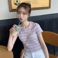 2019 Summer New Style Korean style WOMEN'S Wear Versatile Rainbow Stripes Slim Fit Short T shirt Students Base Shirt Tops Fashio