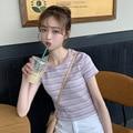 2019 Summer New Style Korean-style WOMEN'S Wear Versatile Rainbow Stripes Slim Fit Short T-shirt Students Base Shirt Tops Fashio
