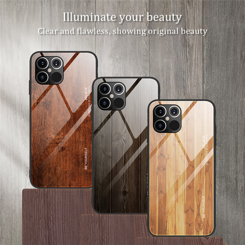 New Luxury Liquid Silicone Wood Grain Wooden Case For iPhone 12