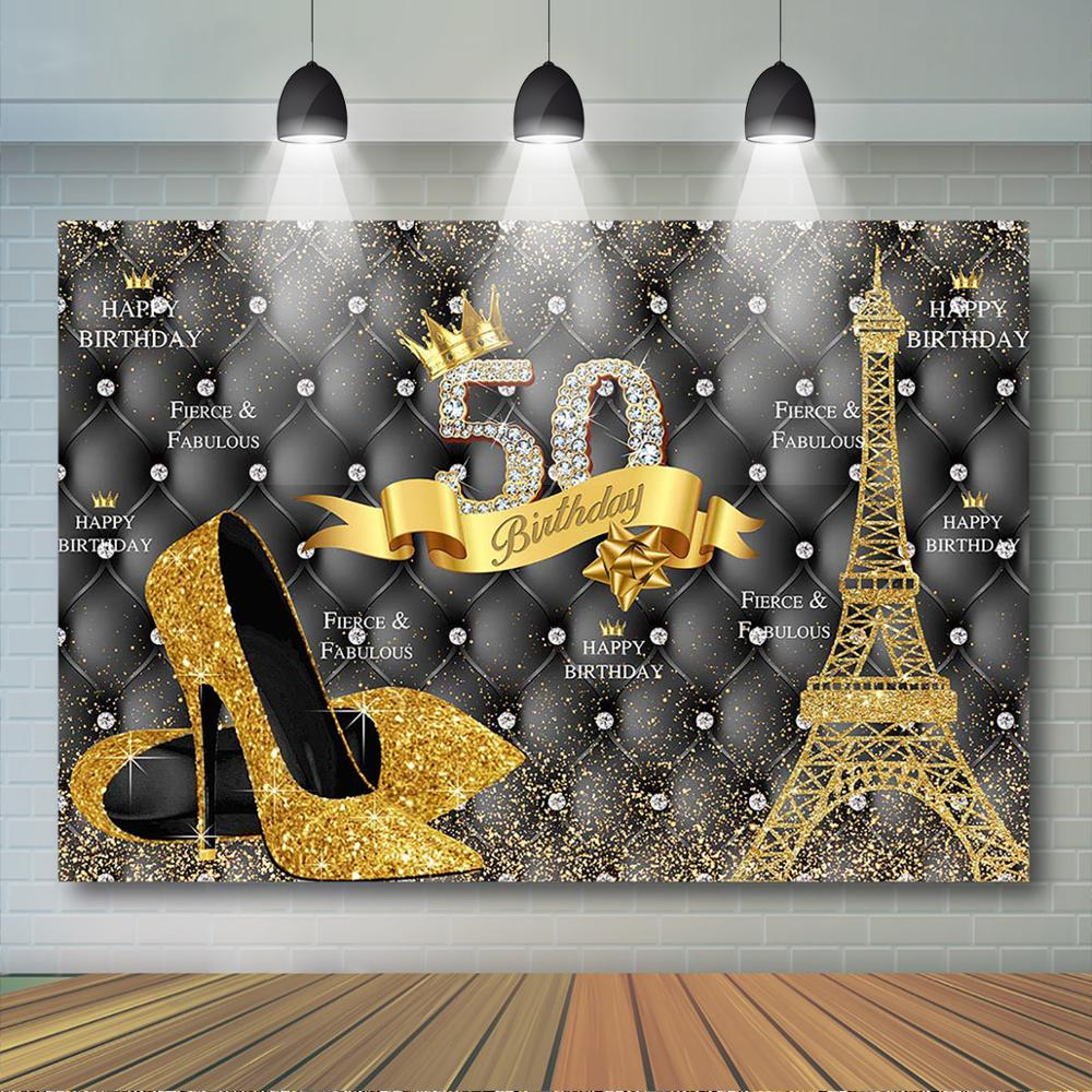 7x5ft Gold and Black Backdrop 30th 40th 50th 60th 70th Birthday Party Decor  Eiffel and High Heels Women Birthday Party Banner|Background| - AliExpress