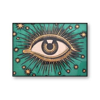 Póster sobre lienzo con estampado de ojos que se ven, arte de...
