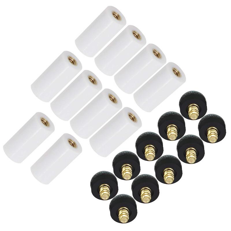HobbyLane 10pcs/set Cue Tips Billiard Replacement Screw-on Tips With Pool Cue Stick Ferrules