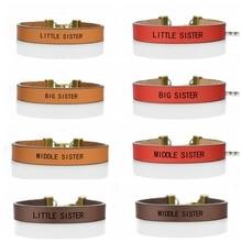 Fashion Leather Bracelet  Little Sister, Middle Sister, Big Sister Vertical Mother Daughter Charm Bracelet Family Gifts цена и фото