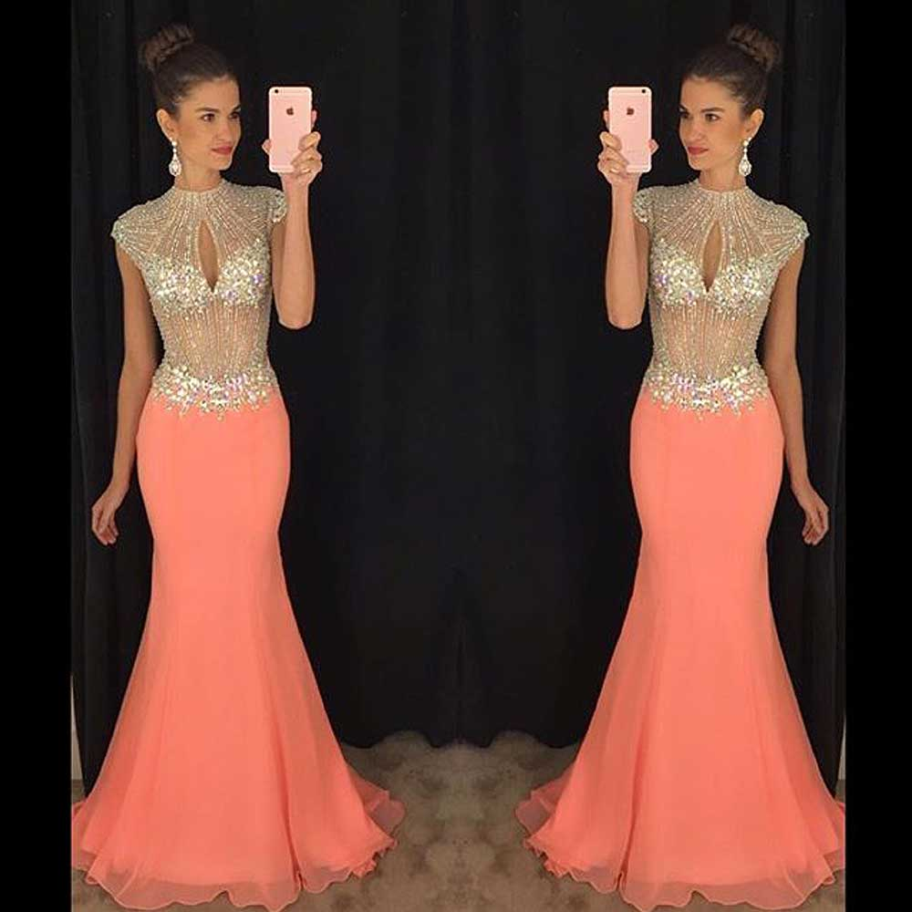 New Arrival Pink Chiffon Mermaid Prom Dress 2019 High Neck Sequined Cap Sleeves Floor Length Zipper Back Vestido De Festa