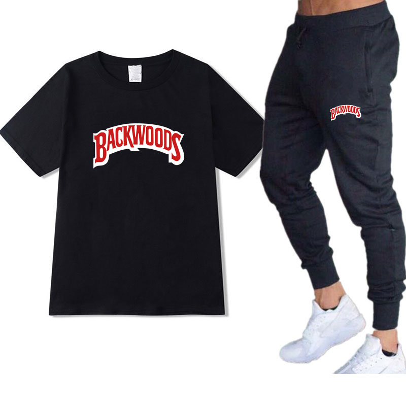 Backwoods T-shirt+Pants Set 2020 Summer Fashion Casual Cotton Round Neck Short-sleeved Harajuku Hip-Hop T-shirt Sweatpants Suit