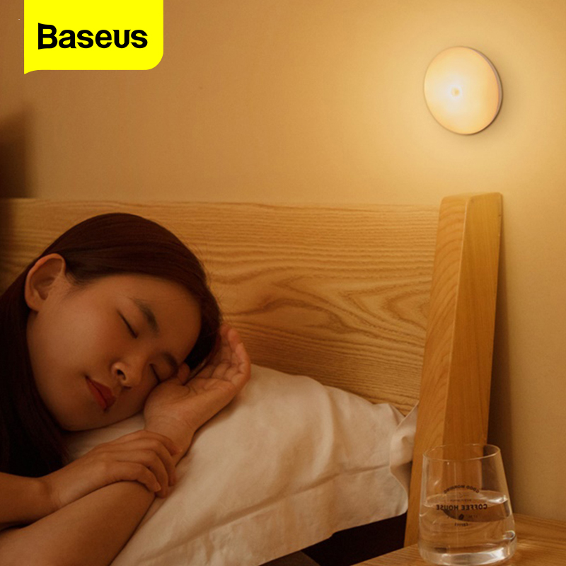 Baseus LED Night Light PIR Motion Sensor Human Induction Wall Lamp For Kitchen Bedroom Closet Wardrobe Sensor Light Night Lamp