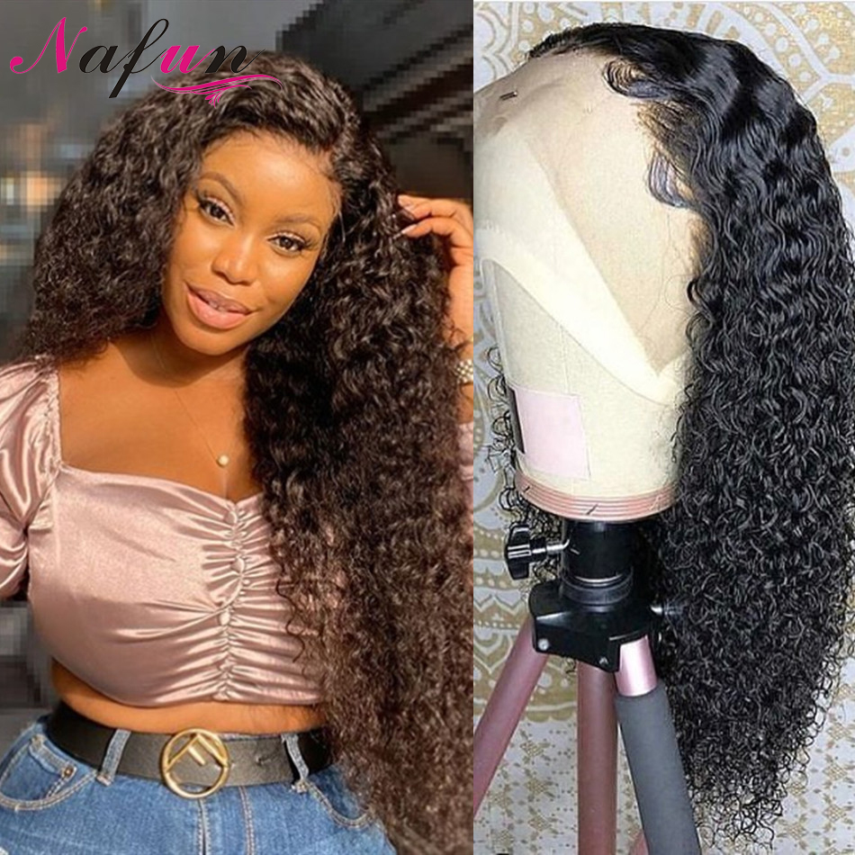 Kinky Curly Lace Front Human Hair Wigs For Women 13x4 Transparent Lace Pre Plucked Wigs Peruvian Remy Hair 4x4 Lace Closure Wigs