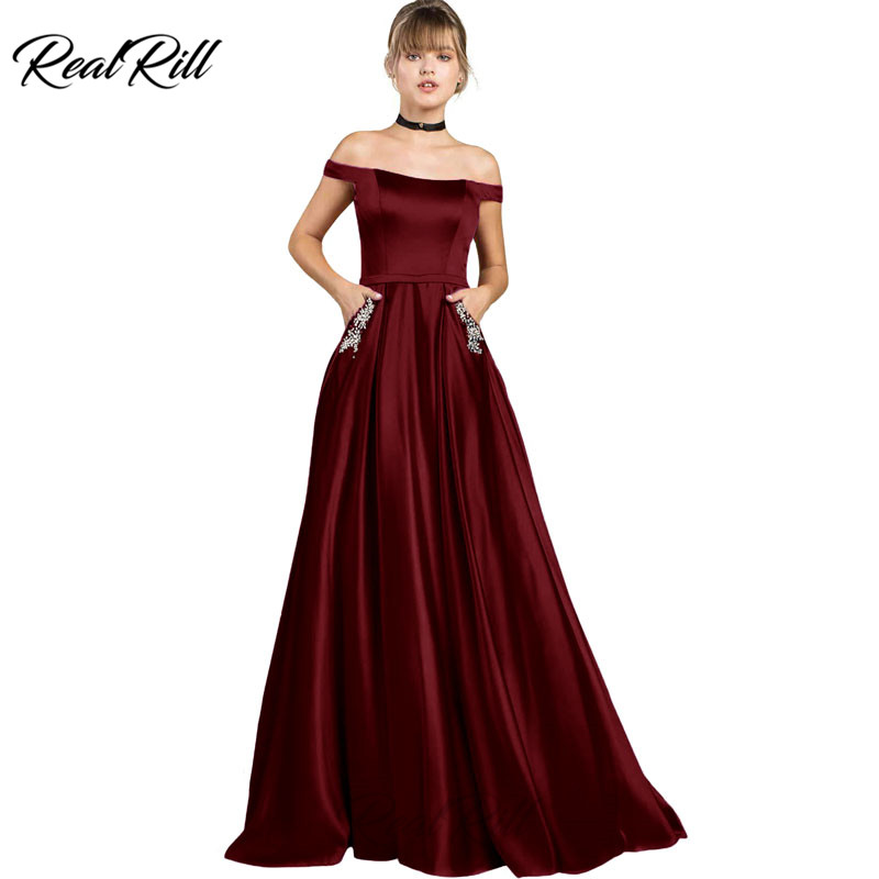 Real Rill Off The Shoulder Long Prom Dresses Satin Beaded Lace Up Back Floor Length Party Dress A Line Formal Gown