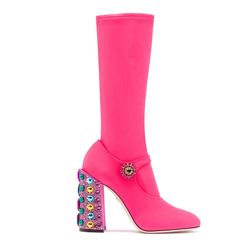 Baskı Çiçek taş elmas tıknaz yüksek topuklu kadın çizmeler elastik takı Yuvarlak Ayak Orta Buzağı Çizmeler bling bling Çorap ayakkabı