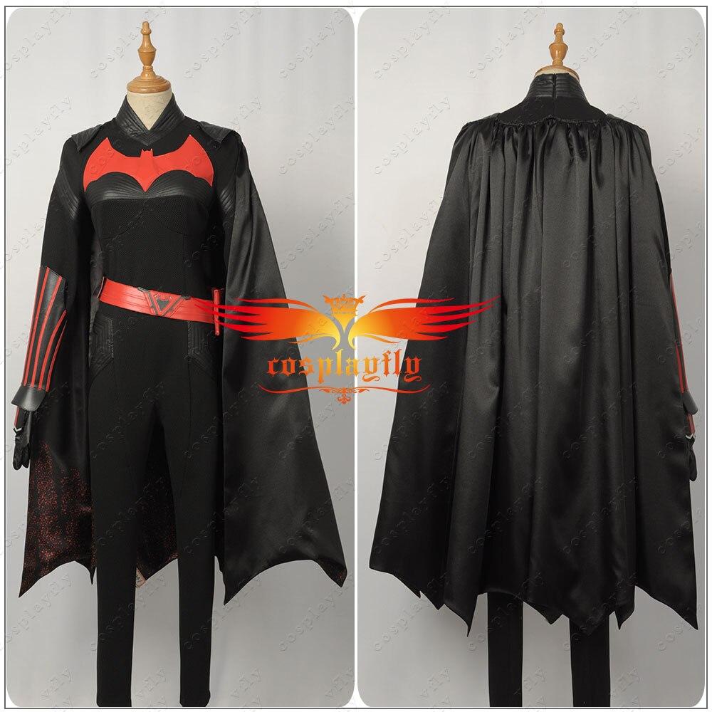 Фильм Batwoman Kathy Kane Косплей Костюм на заказ для взрослых женщин комбинезоны искусственная кожаная одежда пояс с черным плащом Хэллоуин