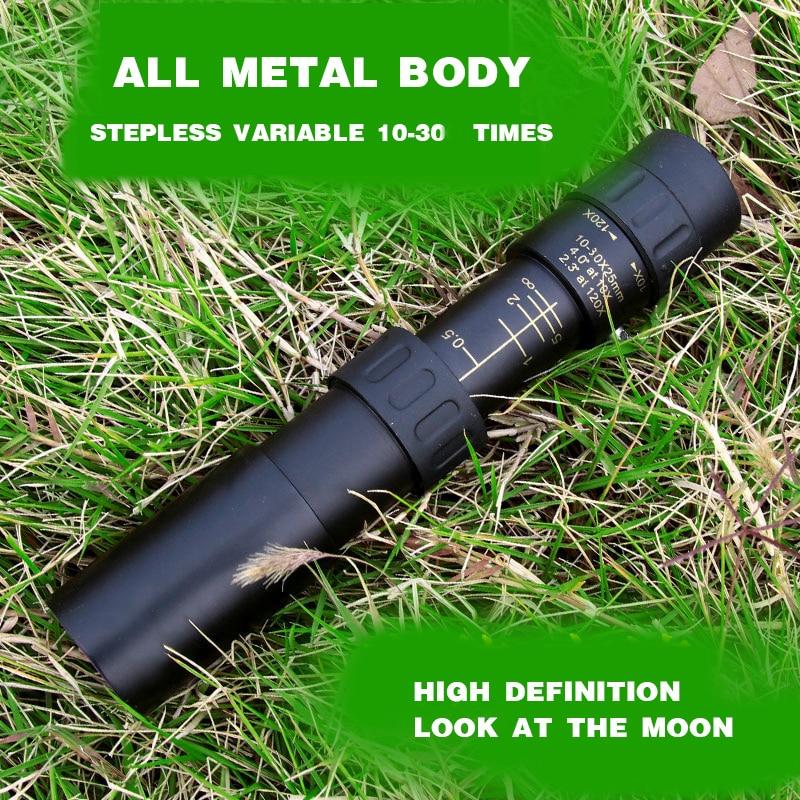 Telescópio monocular de metal 10-30x25 zoom de alta - Camping e caminhadas