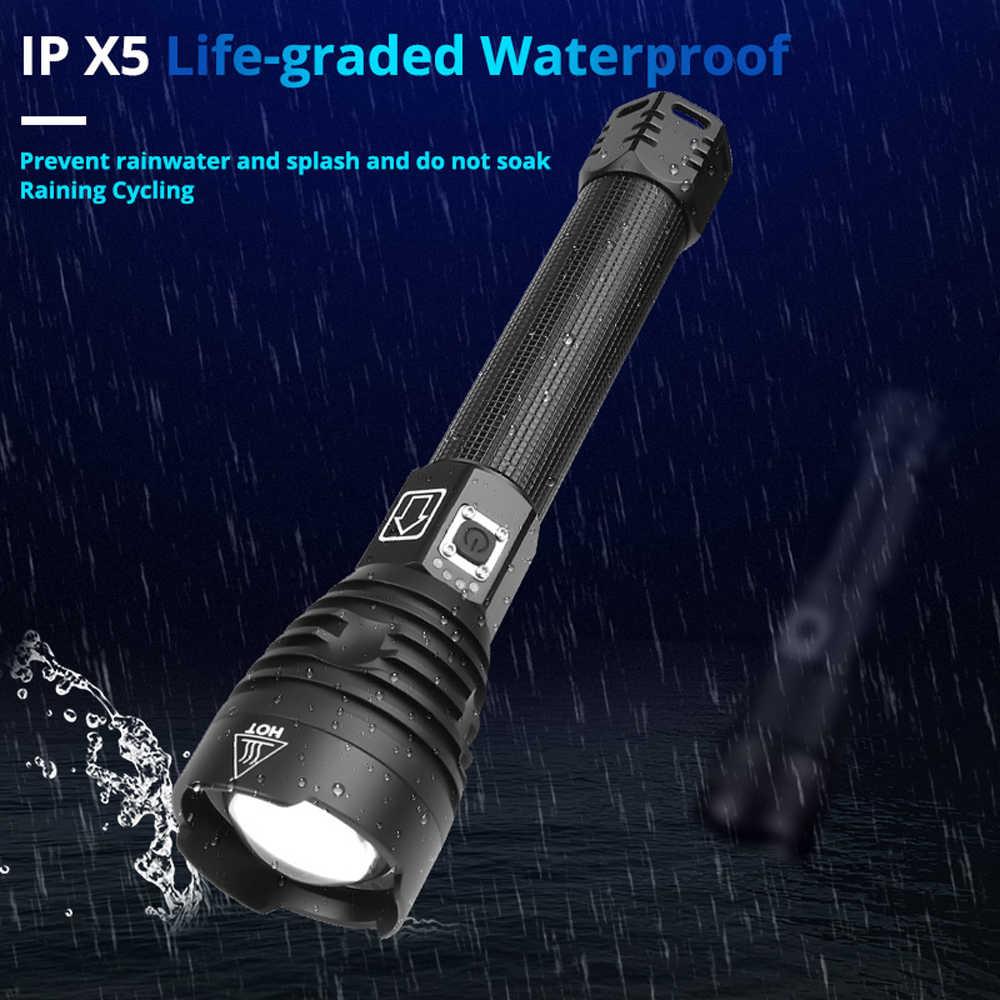 Leistungsstarke LED Taschenlampe Mit XHP 90,2 Lampe perle Zoomable 3 beleuchtung modi LED Taschenlampe USB Aufladbare für camping jagd lampe