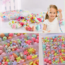 Bead Kit Plastic Acrylic Kids Jigsaw Puzzle Geometric Shape Beads Toys Girls DIY Jewelry Making Stringing Beads Bracelets Toys(China)