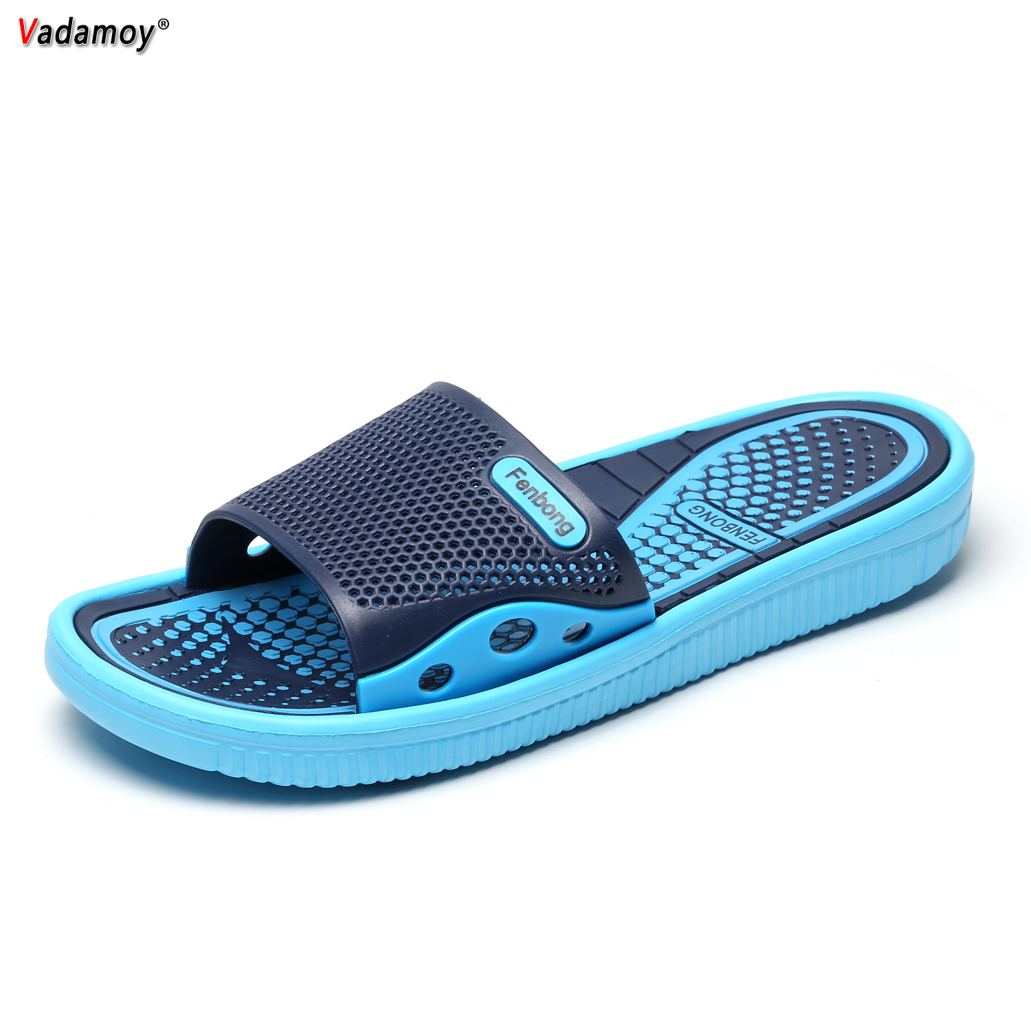 VADAMOY Men Shoes Unisex Summer Hollow Slippers Outdoor Breathable Casual Couple Beach Sandals Flip Flops Shoes Beach Slippers