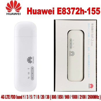 Unlocked  E8372 E8372h-155 4G LTE FDD Band 1/3/5/7/8/20 TDD Band 38/40/41 150Mbps USB WiFi Modem Router Wifi Dongle unlock 150mbps huawei e5577 4g lte mobile wifi router support lte fdd and tdd network band 3 740 fdd 1800 260 plus 2pcs antenna