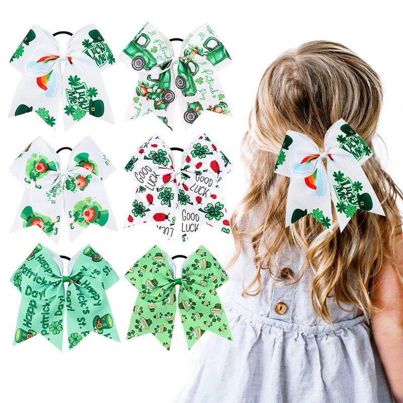Saint Patrick Scrunchies Ireland Clover Green Cartoon Hat Printing  Bow Hair Rope Ties St Patrick's Day Fashion Hair Accessories
