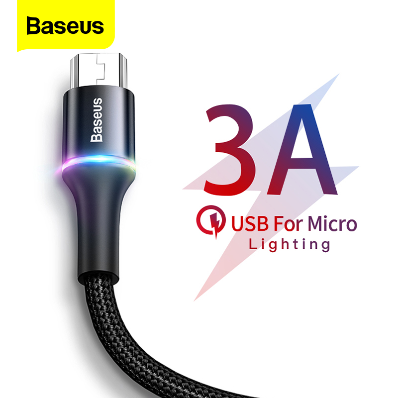 Baseus LED Lighting Micro USB Cable 3A Fast Charging Charger Microusb Cable For Samsung Xiaomi Android Mobile Phone Wire Cord 3m