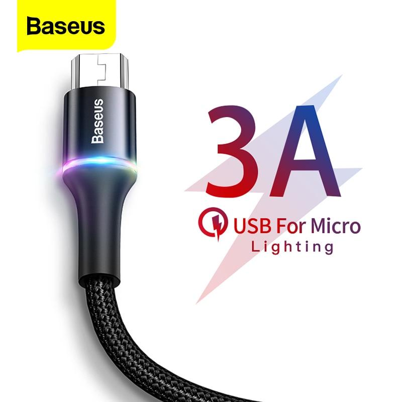 Baseus LED oświetlenie Micro USB kabel 3A szybka ładowarka Microusb kabel do Samsung Xiaomi Android telefon komórkowy przewód 3m