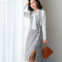 Womens Suit White Blouse+plaid Strap Dress Two Piece Set Fashion 2 Women Office Commuting Sets