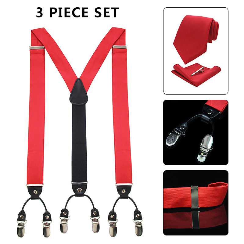 JEMYGINS Fashion Men Suspenders & Necktie And Pocket Square  Gift Box Set  Black Leather 6 Clips Braces Suspensorio Tirante