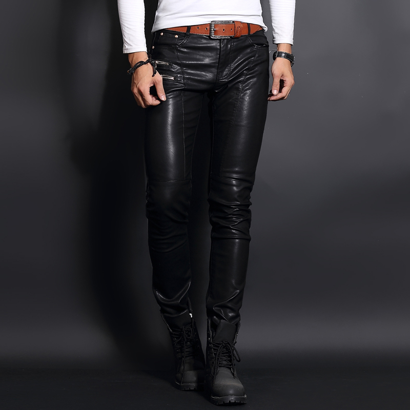 Top Brand Korean Slim Fit Mens Faux Sheepskin Leather Pants Skinny Punk Man Trousers Full Length Zipper Fashion Pantalon Hombre