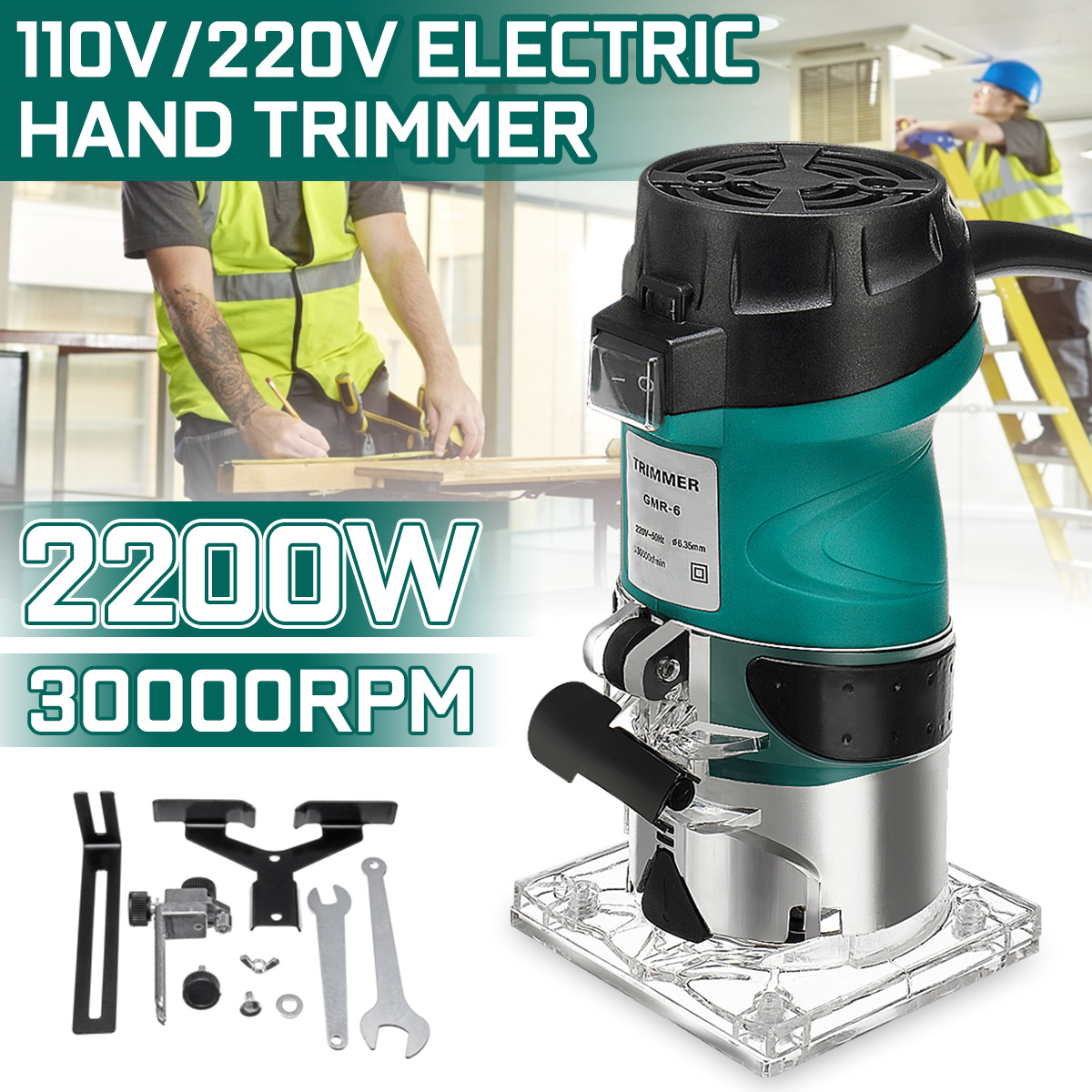 220V 2200W Woodworking Electric Trimmer Wood Milling Engraving Slotting Trimming Machine Hand Carving Machine Wood Router
