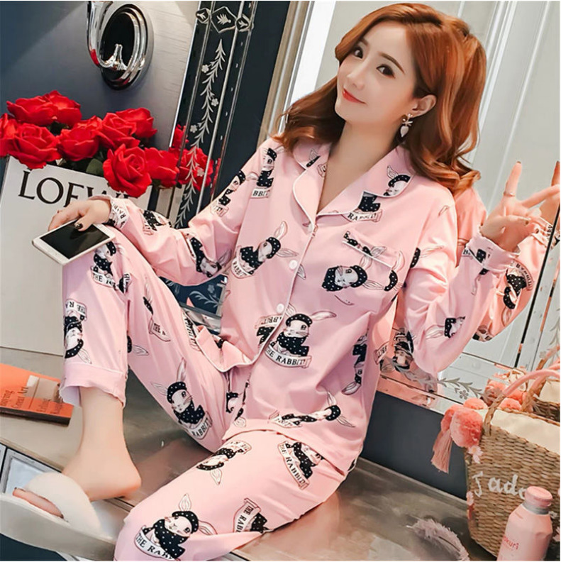 Spring And Autumn Korean-style Pajamas Women Long Sleeve Cardigan Tracksuit Cartoon Rabbit Less Women's Sweet Two-Piece Set