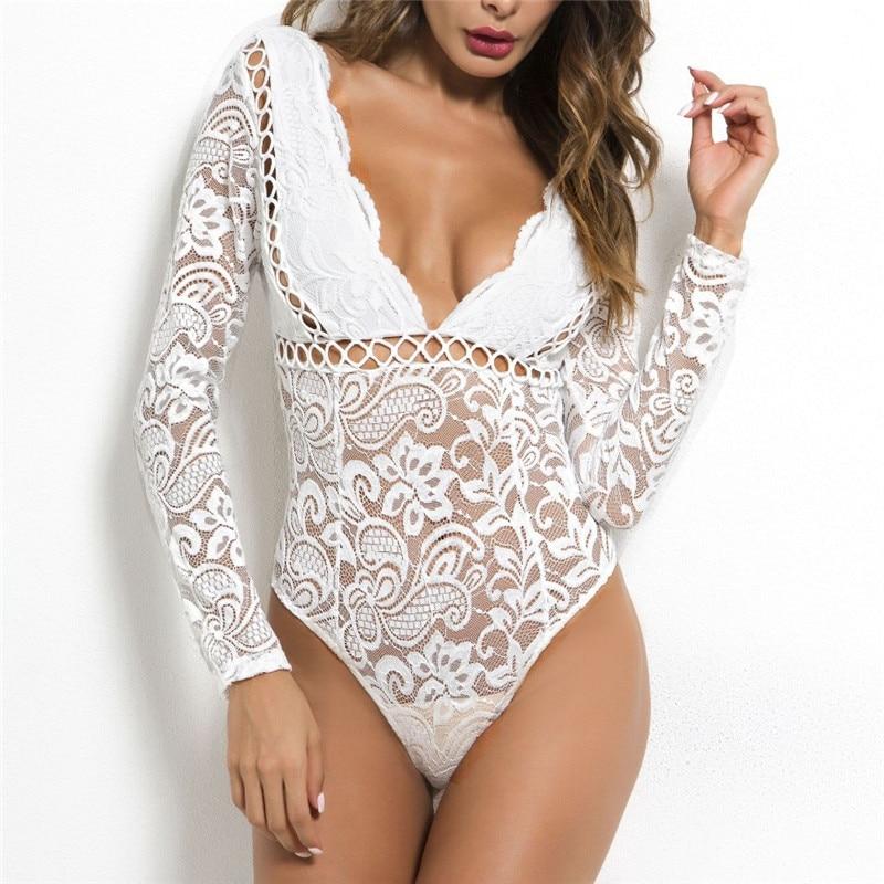2019 Sexy Lace Bodysuit Romper Deep V Neck Lace   Jumpsuit   Women Ladies Bodysuits Bodycon One Piece Clothes Overall Black White