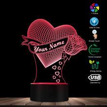 Kochające serce z Rose personalizacja nazwa 3D efekt złudzenie optyczne lampa stołowa nazwa niestandardowa LED lampka nocna walentynki prezent dla niej